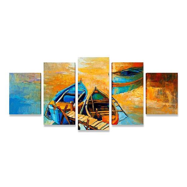Grande Paisagem Canoas Mosaico  -  5 Telas Canvas