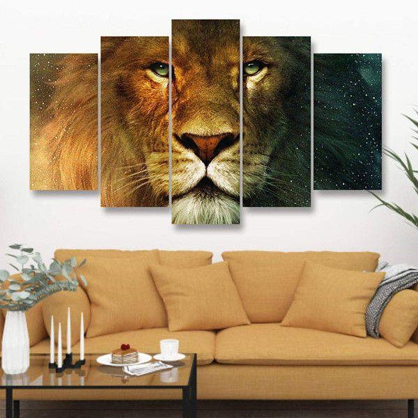 Leão (Rosto) - Quadro Mosaico 5 Telas em Canvas