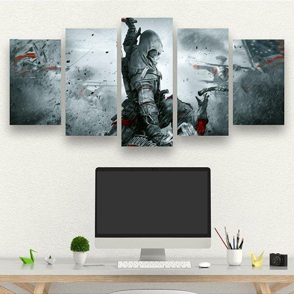 ASSASSINS CREED - Quadro Mosaico 5 telas em Canvas