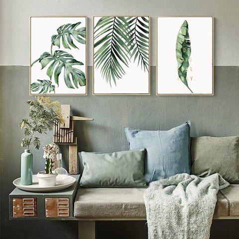Folhas Verdes  - 3 Quadros emoldurados