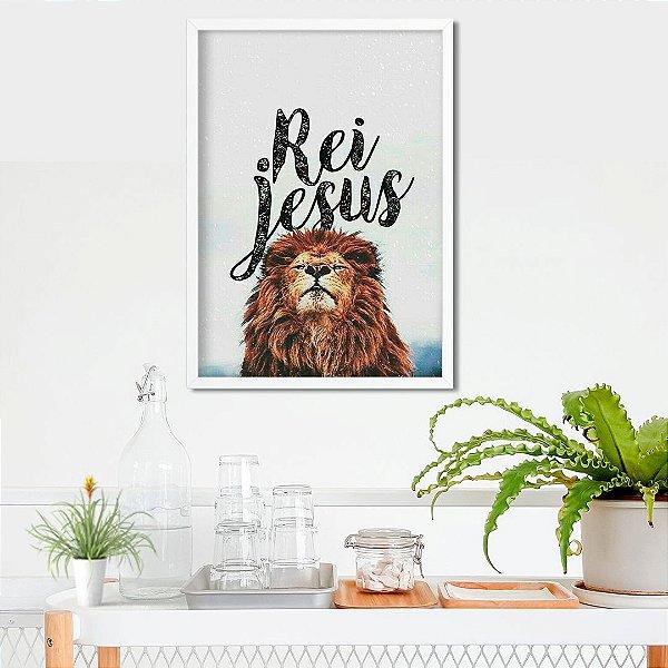 Rei Jesus leão - Emoldurado