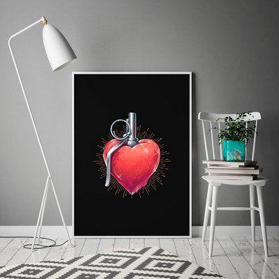 Coração love power - Emoldurado