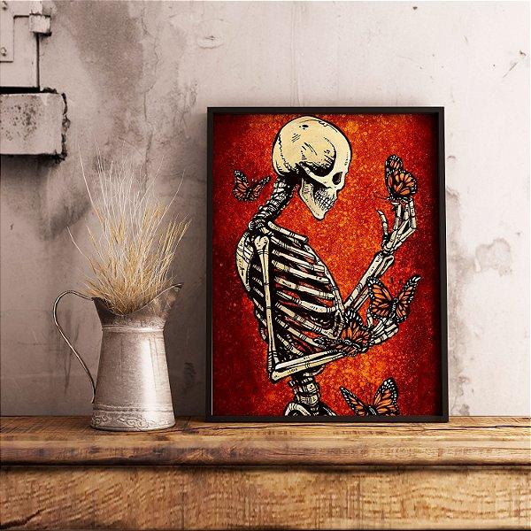 Esqueleto e as borboletas - Emoldurado