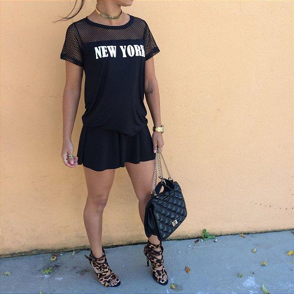 T-shirt NEW YORK com telinha 100% algodão