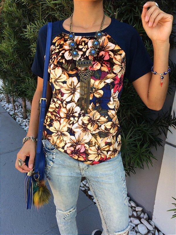 T-shirt Floral de Veludo