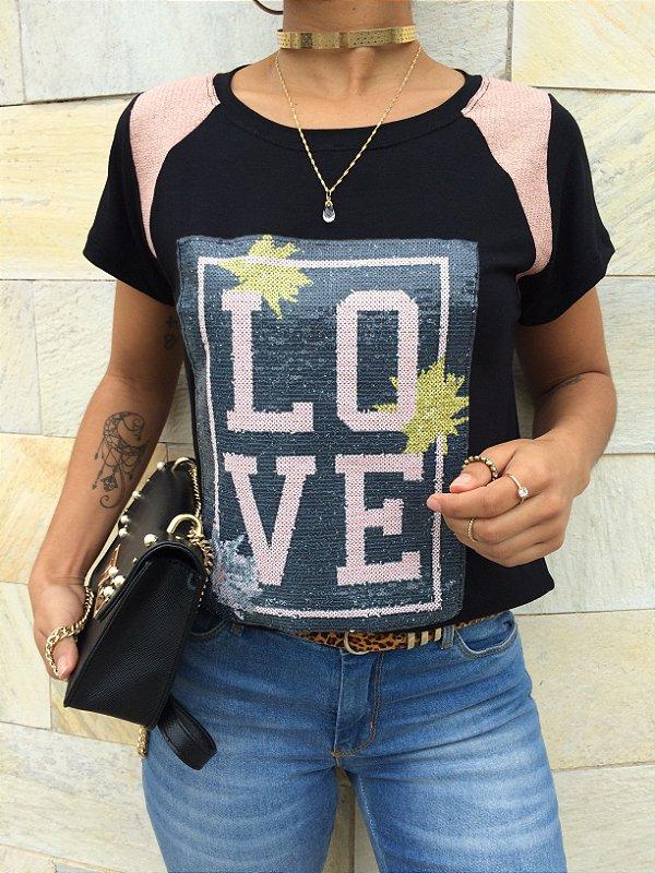 T-shirt LOVE de paetê