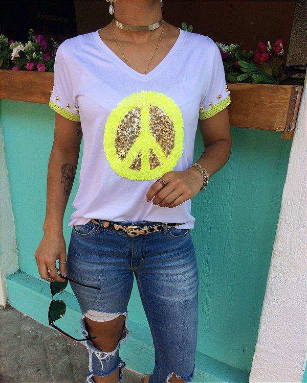 T-shirt Peace bordada