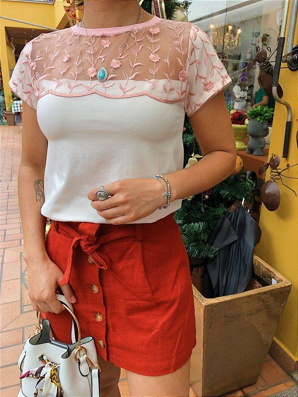 T-shirt tule bordado Rosa