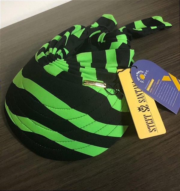 Viseira Com Proteção UV 50+ Regulável Zebra Verde Neon Fundo Preto