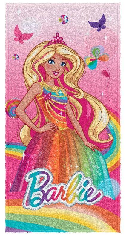 Toalha de banho Barbie Reino do arco iris 0,60 X 1,20 Lepper