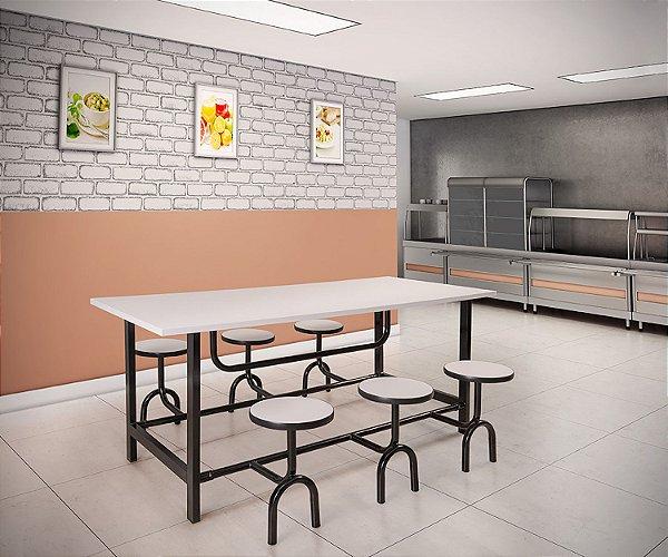 Mesa Refeitório 4 ou 6 Lugares Assento Escamoteável Individual