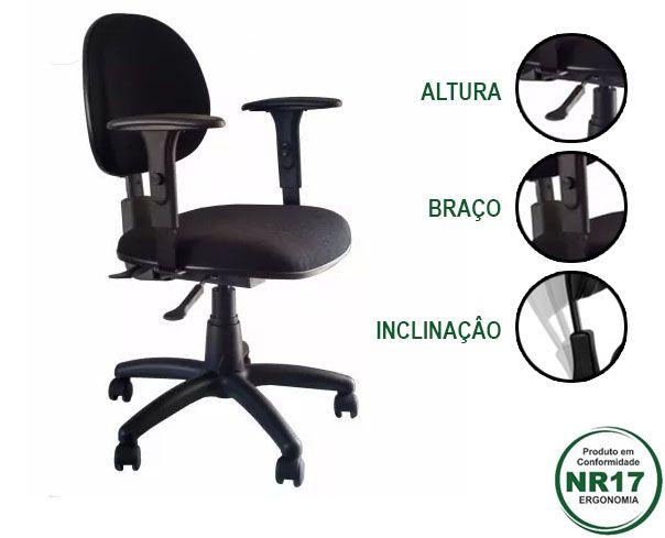 CADEIRA OPERATIVA COM MECANISMO ERGONÔMICO E AJUSTE DA ALTURA DO BRAÇO