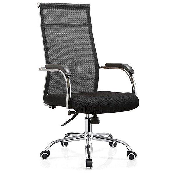 Cadeira Giratória Presidente W124 Tela Base Relax cromada Braço Fixo