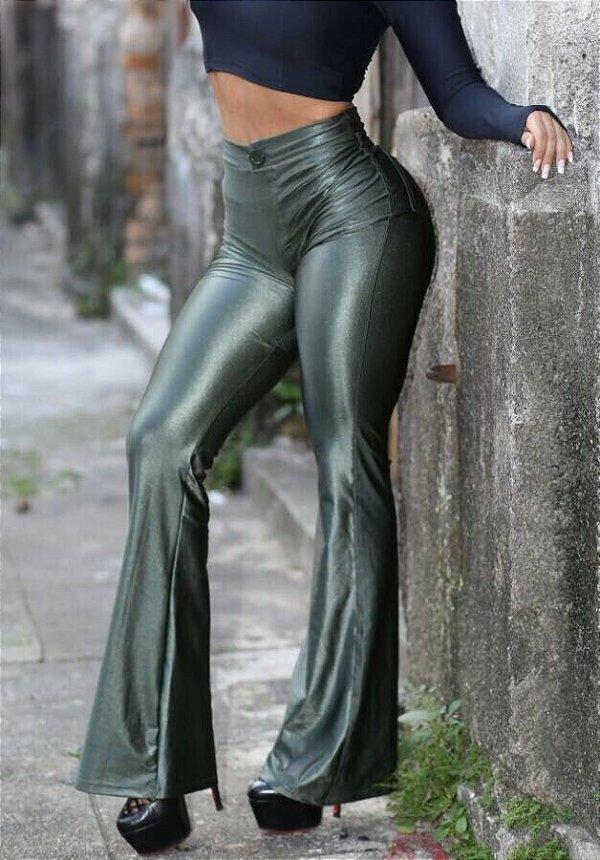 Calça Flare de Cirre Verde