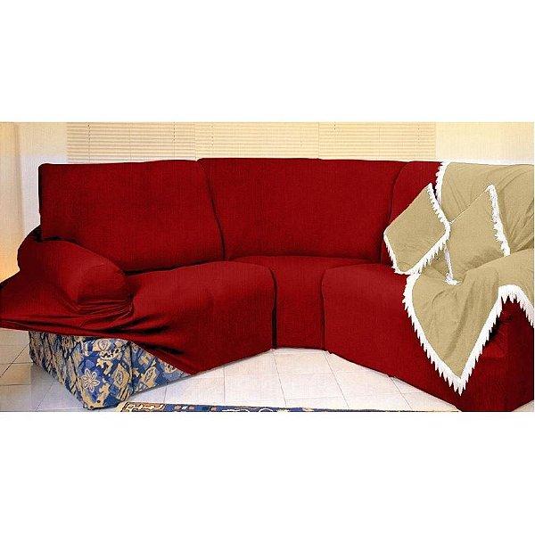 Kit Capa de Sofá de Canto - 3 esquerdo 2 direito - Vermelho
