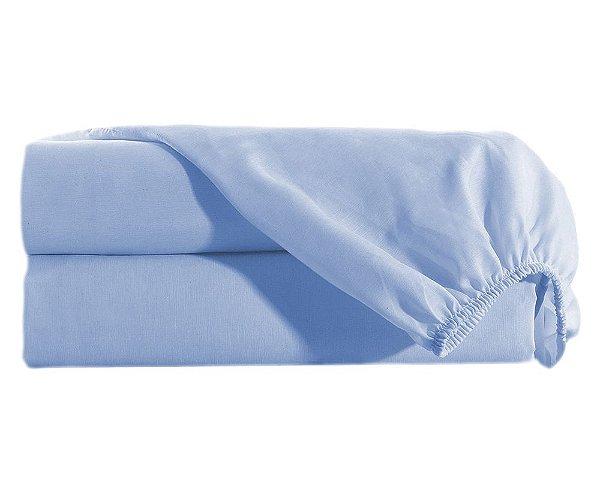 Lençol Casal com Elastico Percal 150 fios 100% Algodão Avulso - Azul