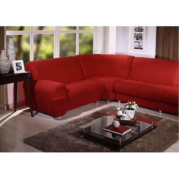 Kit Capa de Sofá de Canto Cristal - 2 esquerdo 3 direito - Vermelho