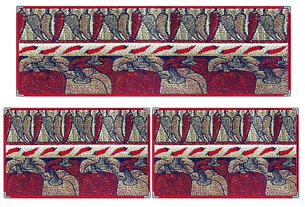 Jogo de tapetes para Cozinha Andino 3 Pçs Lancer - Ka 15 Vermelho
