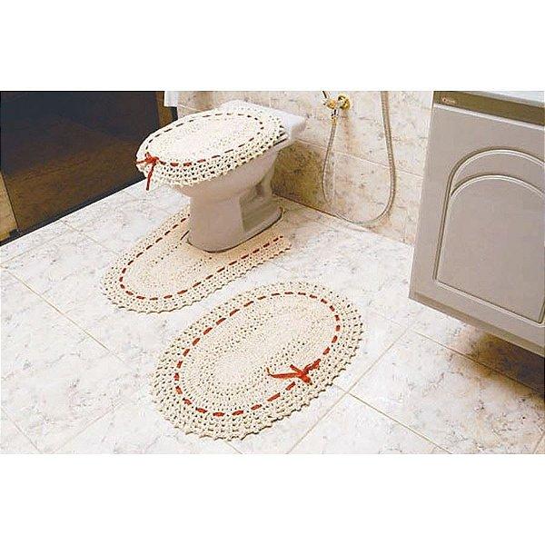 Jogo de Banheiro de Croche para Banheiro Vitória 3 pçs crú
