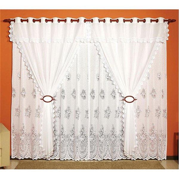 Cortina para varão 4,00 x 2,45m Violeta em Renda e Voil - Branca
