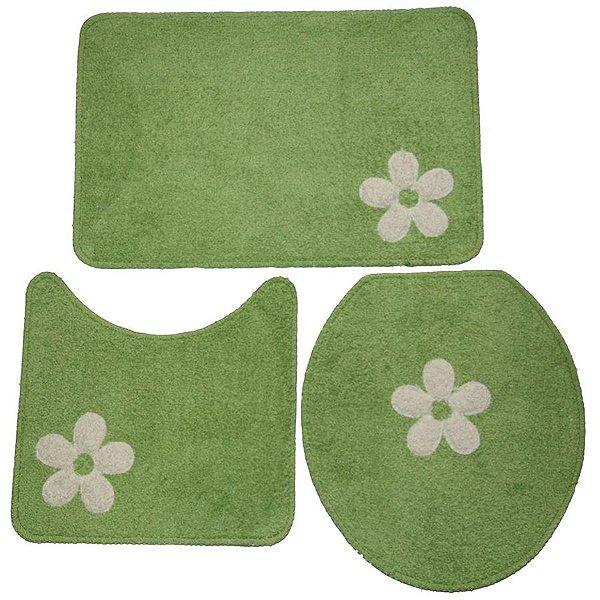 Jogo de Banheiro Cottom aplique 3 peças - Verde/branco