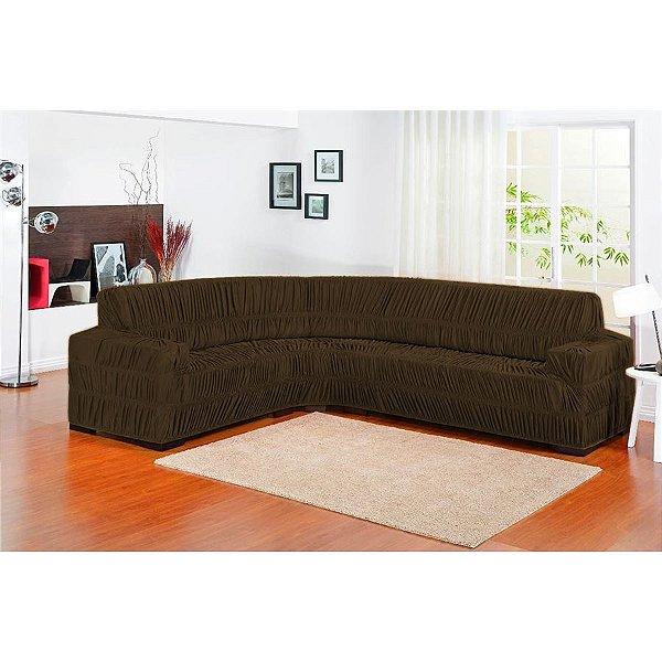 Capa de sofa de canto Elasticada 1 peça - Marrom