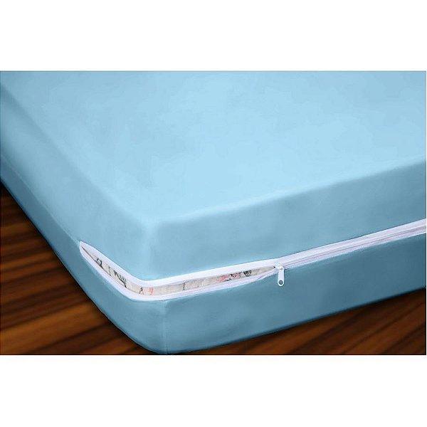 Capa para Colchão Solteiro em Malha 100% Algodão com Ziper 20 cm Altura - Azul