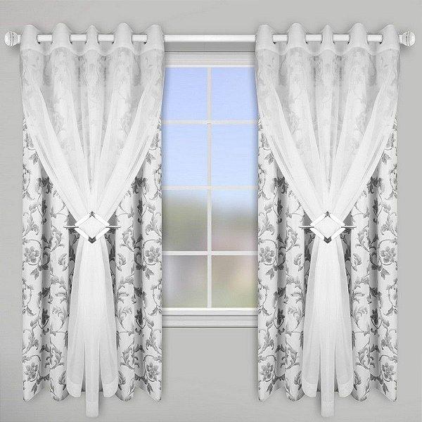 Cortina para varão 2,0x2,30m Blackout Estampado Lava Fácil – Floral Branco