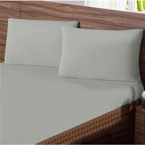 Lençol King com Elastico em Malha Premium 100% Algodão Avulso - Cinza
