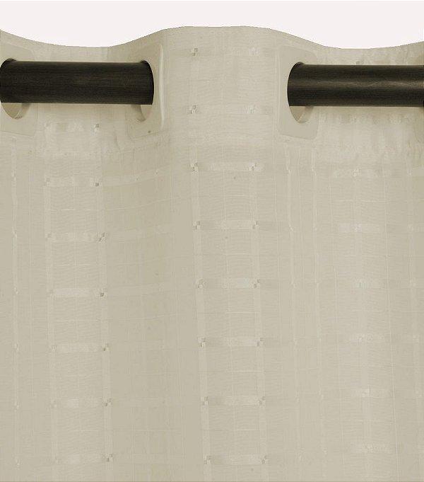 Cortina para varão 2,00 x 1,80m Lile em Voil Xadrez com Forro - Pérola