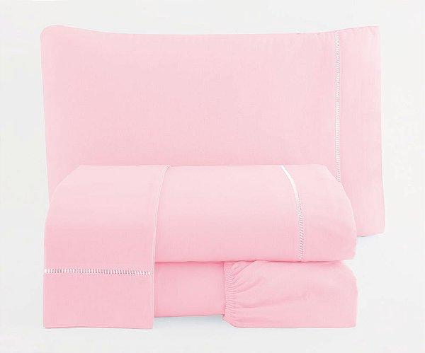 Jogo de Lençol Solteiro Ponto Palito Percal 150 fios 100% Algodão 3 peças - Rosa