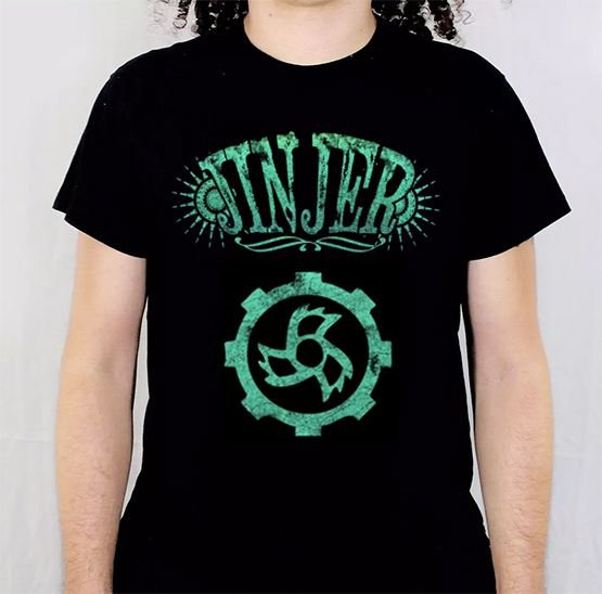 Camiseta Jinjer Logo Verde Pintada a Mão
