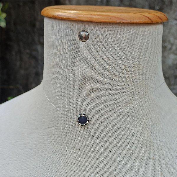 Colar fio pedra natural azul