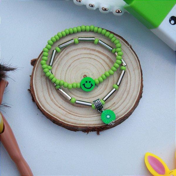 Duplinha pulseira infantil fruta verde