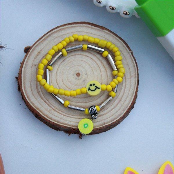 Duplinha pulseira infantil fruta amarela