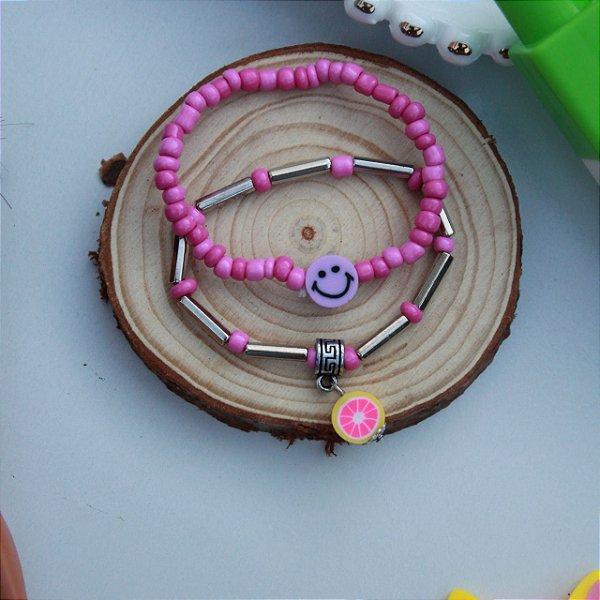 Duplinha pulseira infantil fruta lilás