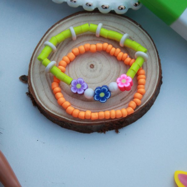 Duplinha pulseira infantil kids florzinha colorida