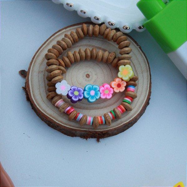 Duplinha pulseira infantil kids florzinha madeira