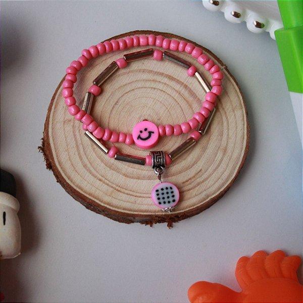 Duplinha pulseira infantil fruta rosa