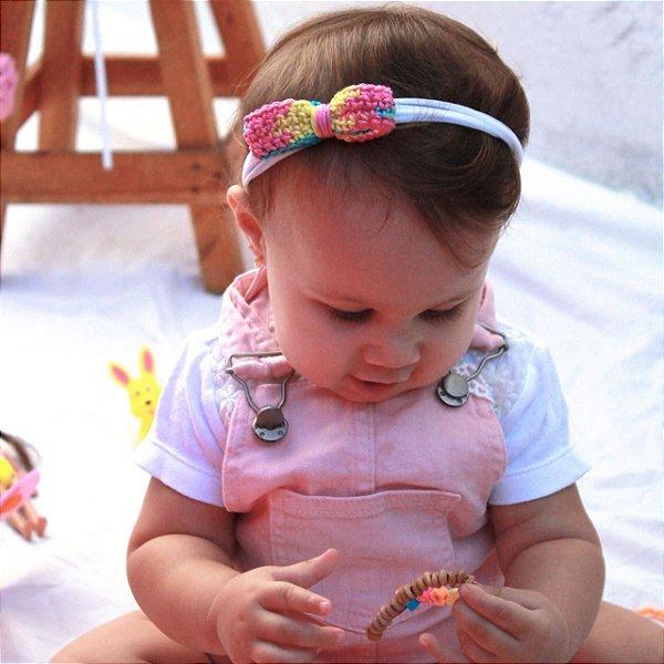 Tiara de malha laço de crochê colorido infantil kids