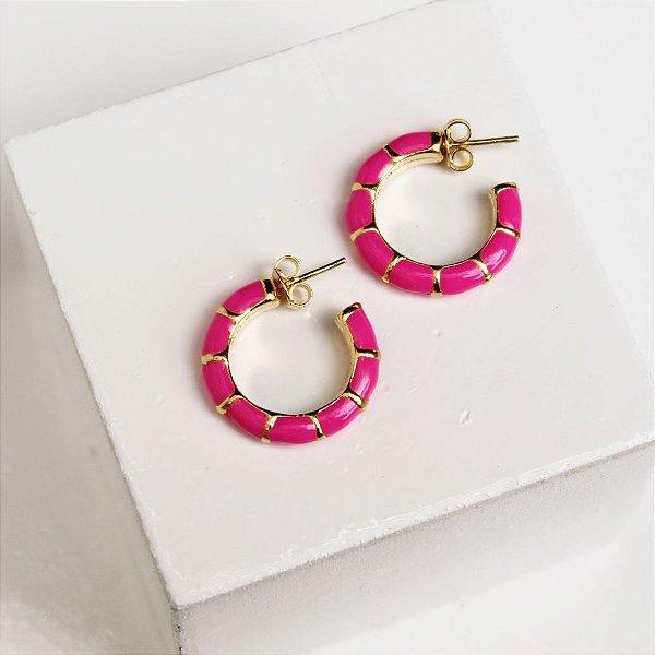 Argola raibow rosa pink P