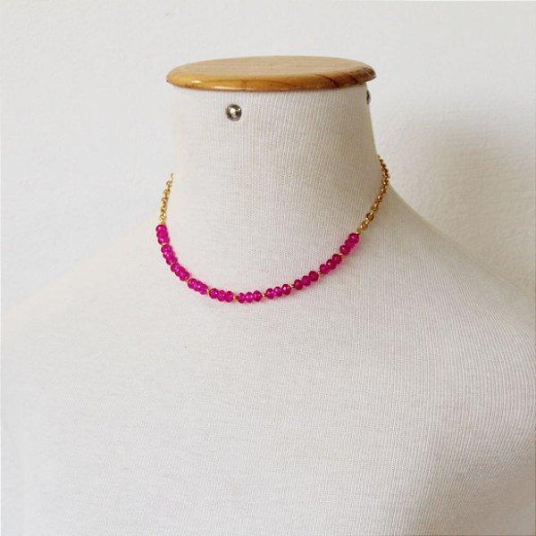 Colar rainbow cristais pink