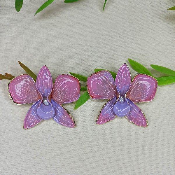Brinco orquídea aberta lilás