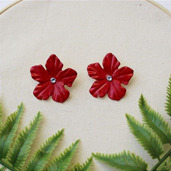 Brinco flor vermelha