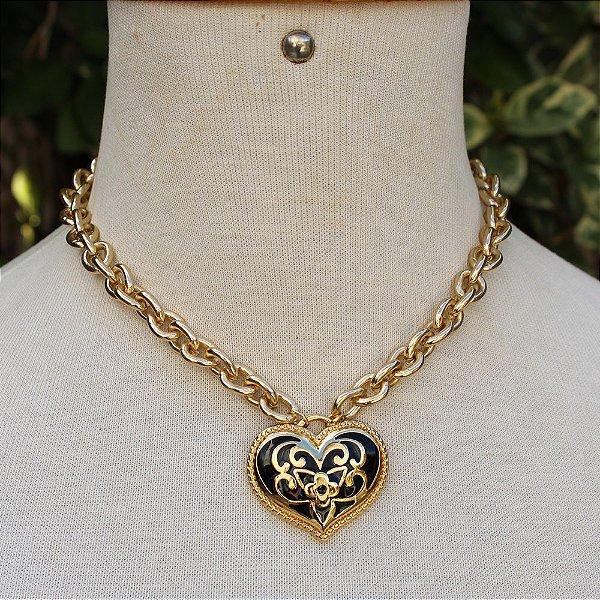 Maxi colar coração florido preto