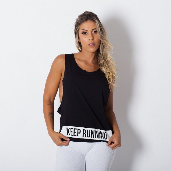 Camiseta Fitness Cava Larga Keep Running Preto Tam M - cod01924