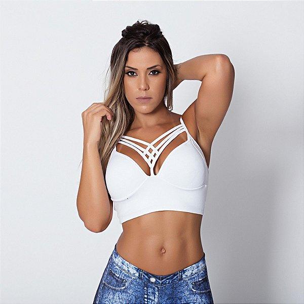 Top Fitness de Tiras Strappy Branco Tam M - cod01915