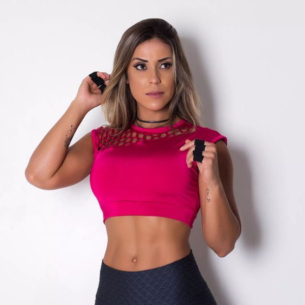 Top Cropped Fitness Laser Pink