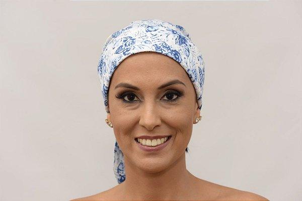 Lenço Quimioterapia Chapéu Branco com Floral Azul