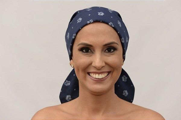 Lenço Quimioterapia Chápeu Azul Coroas